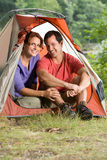 Couple in a tent Royalty Free Stock Photos