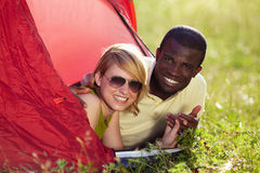 Couple in tent stock photography