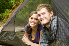 Couple in a tent Royalty Free Stock Photo