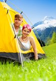 Couple in the tent Royalty Free Stock Photography