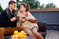 Couple on a terrace Royalty Free Stock Photo