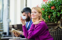 Couple terrace drinking coffee. Casual meet acquaintance public place. Apps normal way to meet and connect with other. Single people. Strangers meet become stock photos