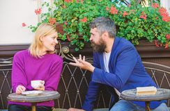 Couple terrace drinking coffee. Casual meet acquaintance public place. Romantic couple. Normal way to meet and connect stock image