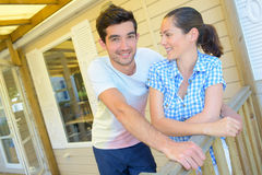 Couple on terrace mobile home Stock Photography