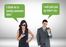 Couple texting about cheating. Digital composite of Couple texting about cheating Stock Photography
