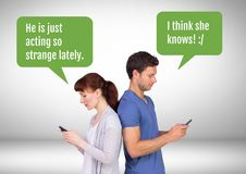 Couple texting about cheating. Digital composite of Couple texting about cheating Stock Photos