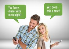 Couple texting about dinner date Royalty Free Stock Photography