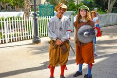 Couple in 17th century clothing at Old Town in Florida`s Historic Coast. royalty free stock photos