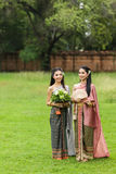 Couple thai woman  traditional dress. Royalty Free Stock Photography
