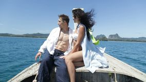 Couple On Thailand Boat Nose Talk, Guy Point Hand, Happy Man And Woman Tourist Communication stock footage
