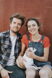 Couple with their adopted Chihuahua dog stock photos