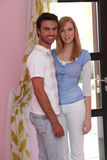 Couple in their apartment Stock Image