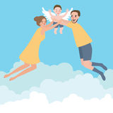 Couple with their baby family flying wings happy to the sky. Vector Royalty Free Stock Photos
