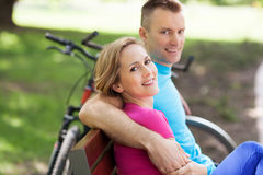 Couple with their bikes Royalty Free Stock Image