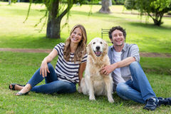Couple with their dog in the park Royalty Free Stock Photo