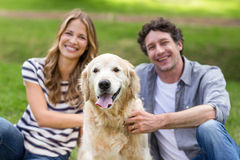 Couple with their dog in the park Royalty Free Stock Photography