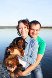 Couple with their dog Royalty Free Stock Photo