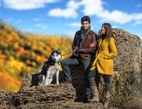 Couple with their dog Stock Photos