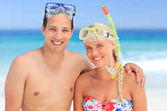 Couple with their masks stock image