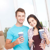 Couple at their new empty apartment Stock Photography