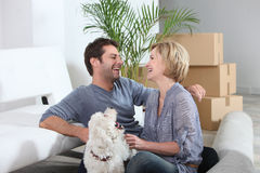Couple in their new home Stock Photography