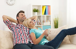 Couple in their new home Stock Photos