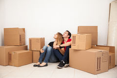 Couple at their new home Royalty Free Stock Photo