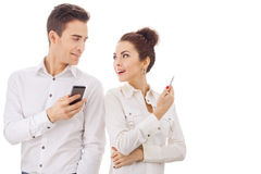 Couple With Their Phones Royalty Free Stock Photos
