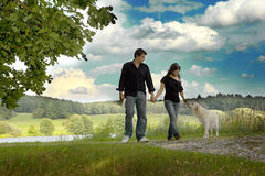 Couple with their puppy. Happy couple walking with their puppy Stock Photos