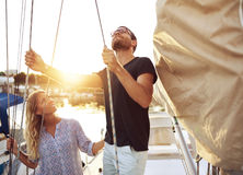 Couple on Their Sail Boat Royalty Free Stock Photo