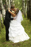 A couple on their wedding day. Kissing Stock Image
