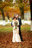 Couple on their wedding day stock image