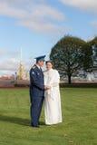Couple on their wedding day Stock Photos