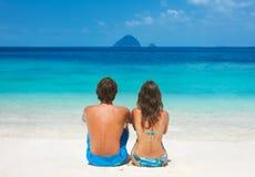 Couple on thel beach Stock Photos