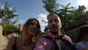 Couple in the Theme Park stock video
