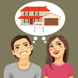 Couple Thinking House Stock Photography