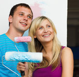 Couple thinking  with a new decoration home Stock Photo