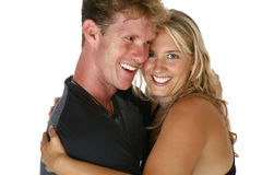 Couple in thirties laugh and h stock photo