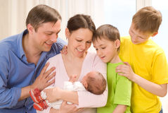 Couple  with three children Royalty Free Stock Photography