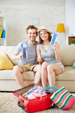 Couple with tickets stock image
