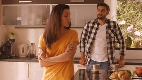 Couple in to an argument. In the kitchen at home 4k stock footage