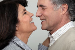 Couple about to kiss. stock photos