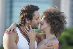 Couple about to kiss. Oudoor with blurred background Stock Photo