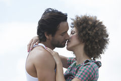 Couple about to kiss. Outdoord Stock Photo