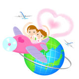 Couple to leave the plane Honeymoon. Home and Family Character D Stock Image