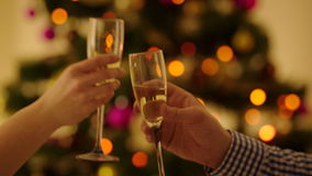 Couple Toast the Christmas. Closeup shot of man and woman hands clinking glasses with champagne and toast the Christmas. Christmas tree with sparkling fairy stock footage