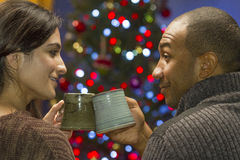 Couple toast each other during holidays, horizontal Stock Photo