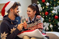 Couple toast for happy Christmas holiday. Romantic couple toast for happy Christmas holiday Royalty Free Stock Photography