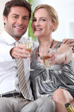 Couple toasting with champagne Stock Image