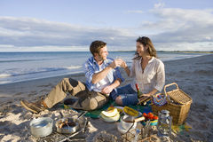 Couple toasting champagne on beach Royalty Free Stock Photo